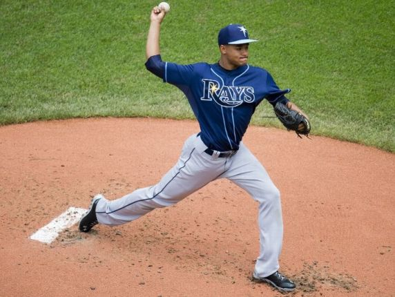 Chris Archer pitches during the second inning at Progressive Field. (Photo by Jason Miller/Getty Images)