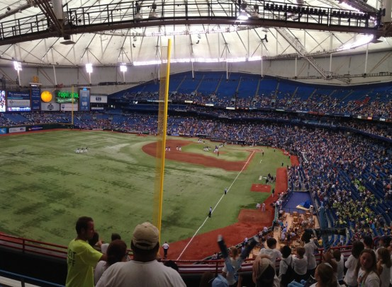 The scene at the Trop after the Rays finished off the Twins Thursday, at Tropicana Field. (Photo courtesy of X-Rays Spex)