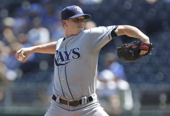 Jeremy Hellickson throws in the first inning against the Kansas City Royals. (Photo courtesy of Ed Zurga/Getty Images)