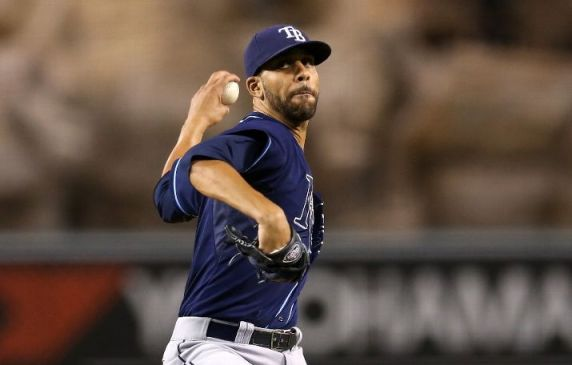David Price throws a pitch against the Los Angeles Angels of Anaheim. (Photo courtesy of Getty Images)