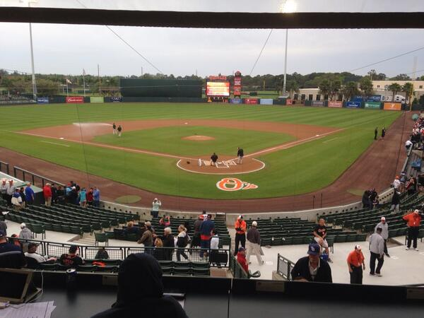 The Orioles ground crew readying the field ahead of Thursday evening's game. (Photo courtesy of Marc Topkin)