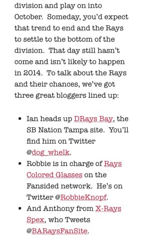 Click the screenshot above, to be redirected to a collaborative piece including thoughts on the Rays from contributors to DRaysBay, Rays Colored Glasses, and yours truly.