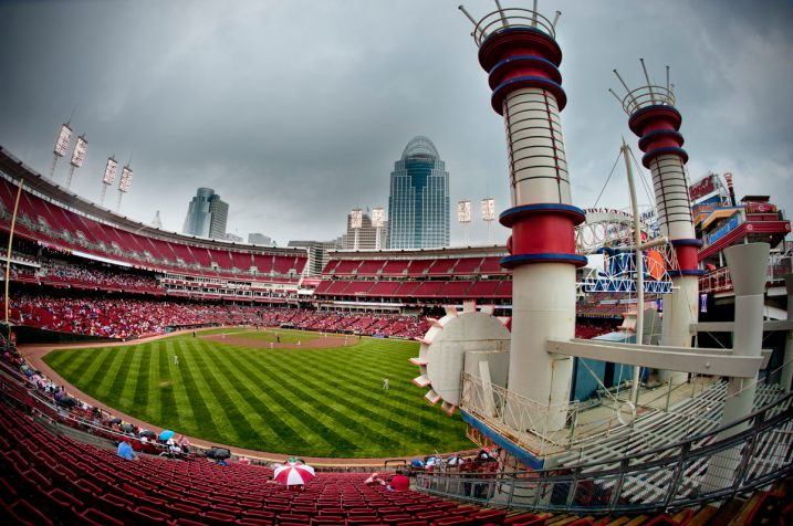 Great American Ballpark From Center Field With Steamboat Smokestacks (Photo courtesy of Gary Goodman)