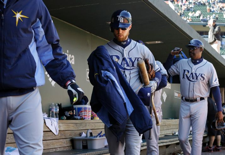 Ben Zobrist, center, carries his belongings out of the dugout after a baseball game against the Baltimore Orioles, Wednesday, April 16, 2014, in Baltimore. Baltimore won 3-0. (AP Photo/Patrick Semansky)