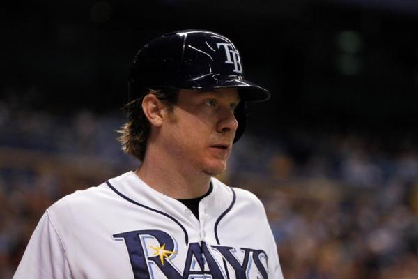 May 10, 2014; St. Petersburg, FL, USA; Tampa Bay Rays catcher Ryan Hanigan (24) on deck to bat against the Cleveland Indians at Tropicana Field. (Photo courtesy of Kim Klement/USA TODAY Sports)