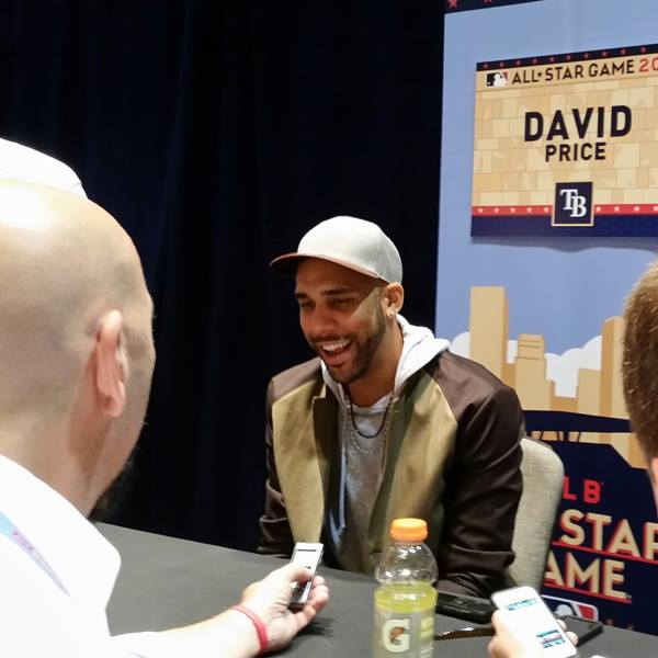 David Price answering questions Monday. (Photo courtesy of the Tampa Bay Rays)