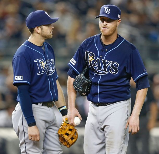 Evan Longoria and Alex Cobb react on the mound after Cobb allowed an eighth-inning double to New York Yankees left fielder Chris Young, breaking up his no-hitter. (Photo courtesy of AP Photo/Kathy Willens)