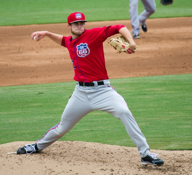 Mark Sappington, pitcher for the Inland Empire minor league baseball team of the Los Angeles Angels, in 2013. (Photo courtesy of Dirk Hansen)
