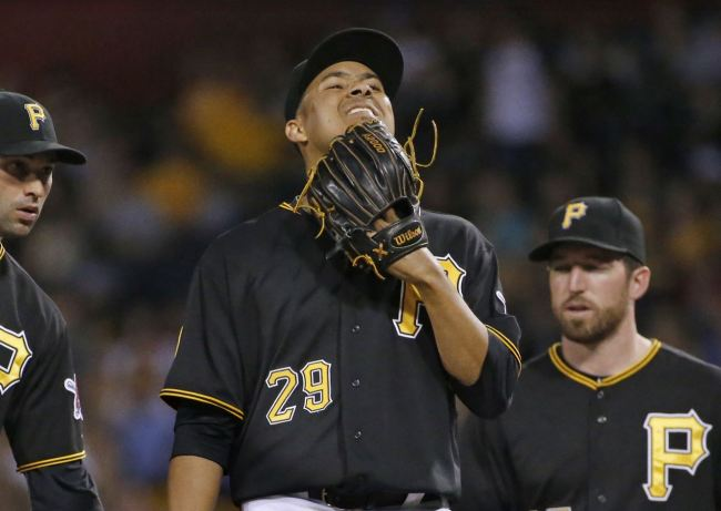 Ernesto Frieri following his debut with the Pirates on June 28, 2014. (Photo courtesy of Gene J. Puskar/Associated Press)