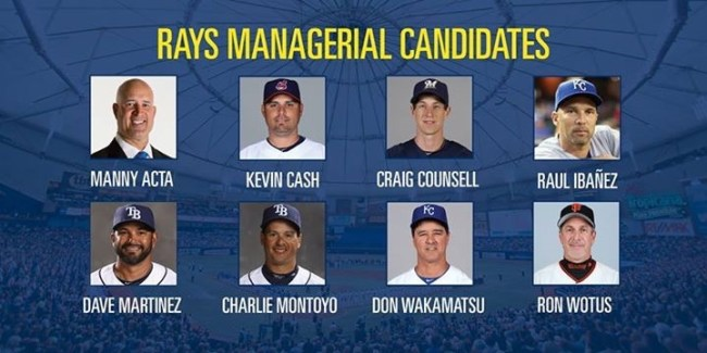 The initial eight managerial candidates. (Photo courtesy of the Tampa Bay Rays)