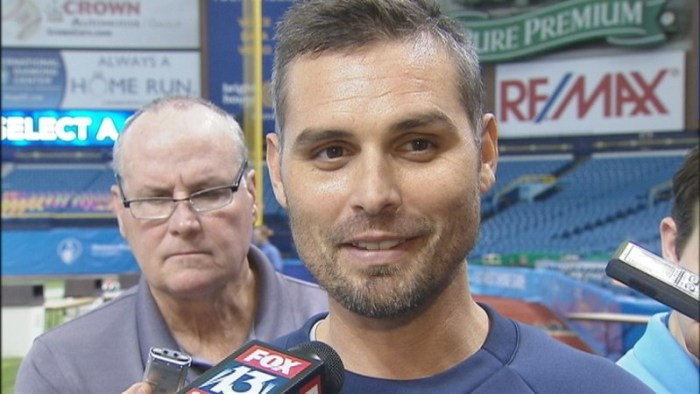 Kevin Cash speaks to the media at the Rays Winter Development Program. (Photo courtesy of Kevin O'Donnell/FOX 13 Sports)