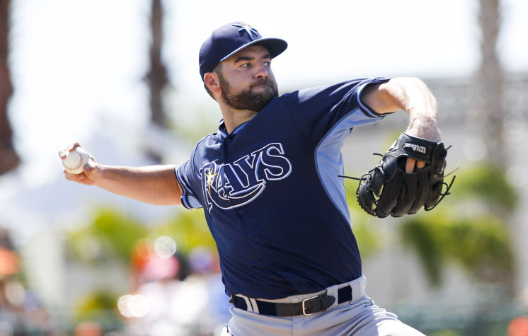 Tampa Bay Rays starting pitcher Nathan Karns throws in the third inning of a Spring Training game. (Photo courtesy of Will Vragovic/Tampa Bay Times)