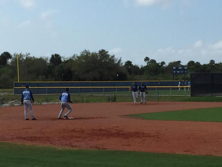 A grainy photo of Infield drills Sunday, with Tim Beckham and Nick Franklin getting work at short stop, and Asdrubal Cabrera and Logan Forsythe getting work at second base. (Photo courtesy of Marc Topkin)