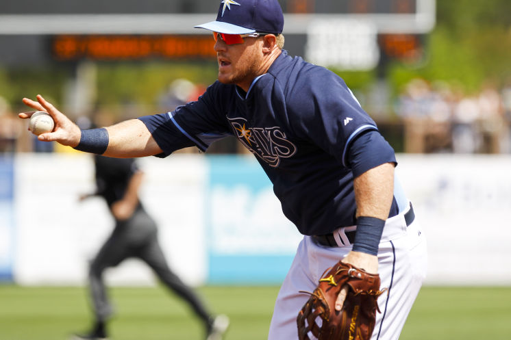 Allan Dykstra took over for James Loney at first base Tuesday afternoon, in Port Charlotte. (Photo courtesy of Will Vragovic/Tampa Bay Times)