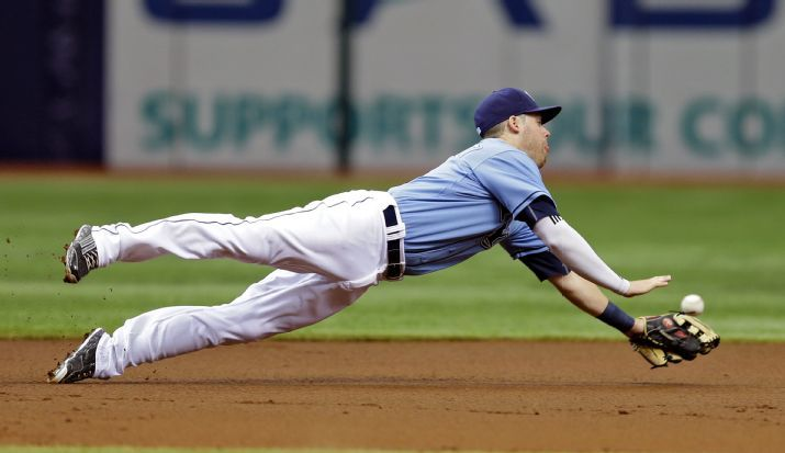 It seems like EVERY Rays game has gone like this of late. Jake Elmore dives for but cannot come up with an RBI-single by JJ Hardy during the first inning on Sunday. (Photo Credit: AP Photo/Chris O'Meara)