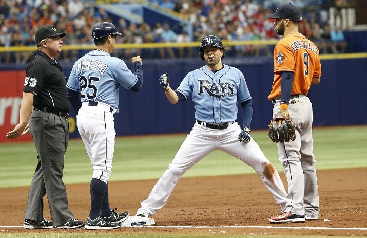 David DeJesus celebrates with third base coach Charlie Montoyo after hitting a one-run triple to score Logan Forsythe during the second inning of a game on July 12, 2015. (Photo by Brian Blanco/Getty Images)