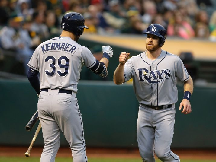 Logan Forsythe is congratulated by Kevin Kiermaier after scoring against the Oakland Athletics during the second inning. Forsythe scored on a single by Desmond Jennings. (Photo Credit: AP Photo/Ben Margot)