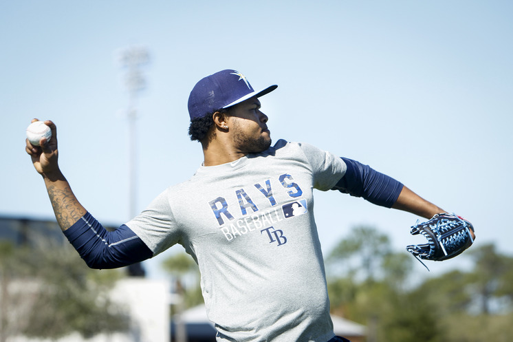 No visa problems this year. Alex Colome throws during a workout Thursday at Charlotte Sports Park. (Photo Credit: Will Vragovic/Tampa Bay Times)