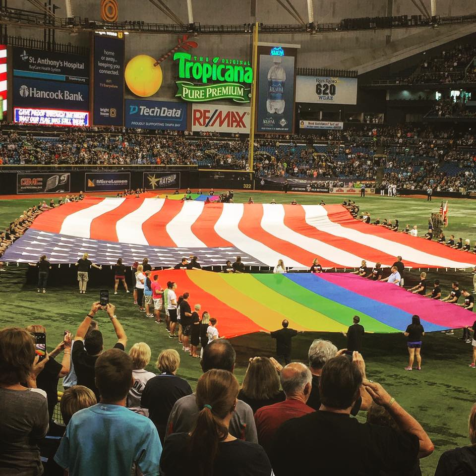 The Tampa Bay Rays celebrated unity and inclusion at Tropicana Field on Friday. (Photo Credit: Anthony Ateek/X-Rays Spex)