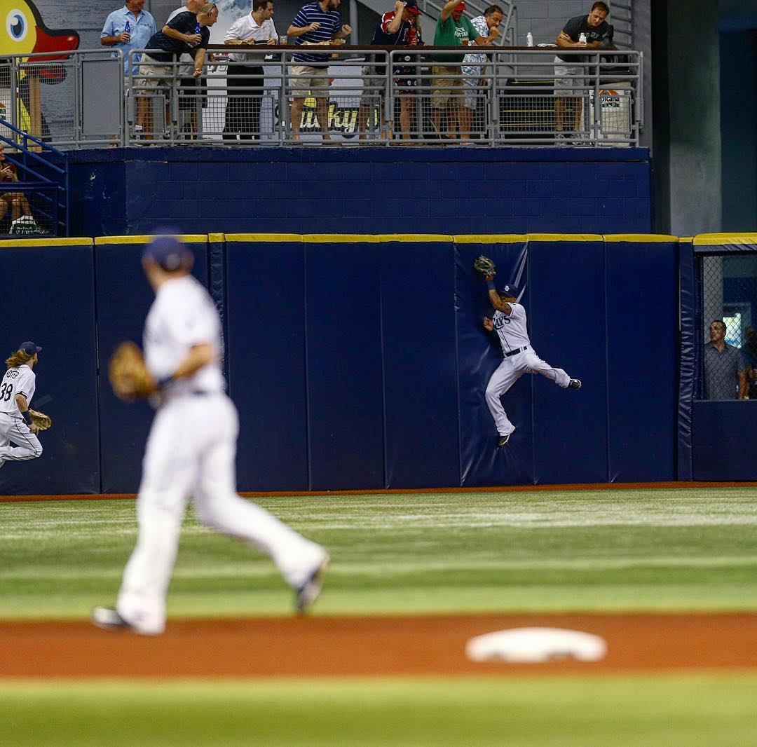 Desmond Jennings makes a leaping catch against the wall in centerfield, robbing Boston's leadoff man of an extra base hit for the first out of the game Wednesday night. (Photo Credit: Tampa Bay Rays)