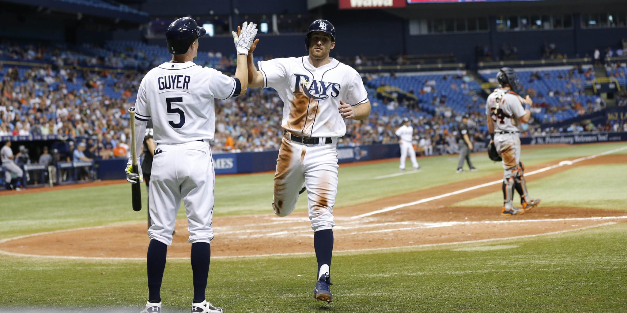Brad Miller scores on Logan Morrison's sac-fly Saturday afternoon. (Photo Credit: Tampa Bay Rays)