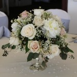 low centerpiece roses and peals