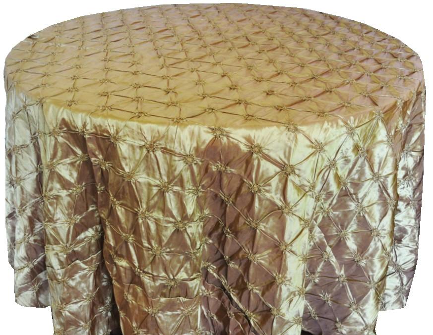 Pinchwheel Taffeta Tablecloth Rentals gold