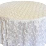 Pinchwheel Taffeta Tablecloth Rentals white