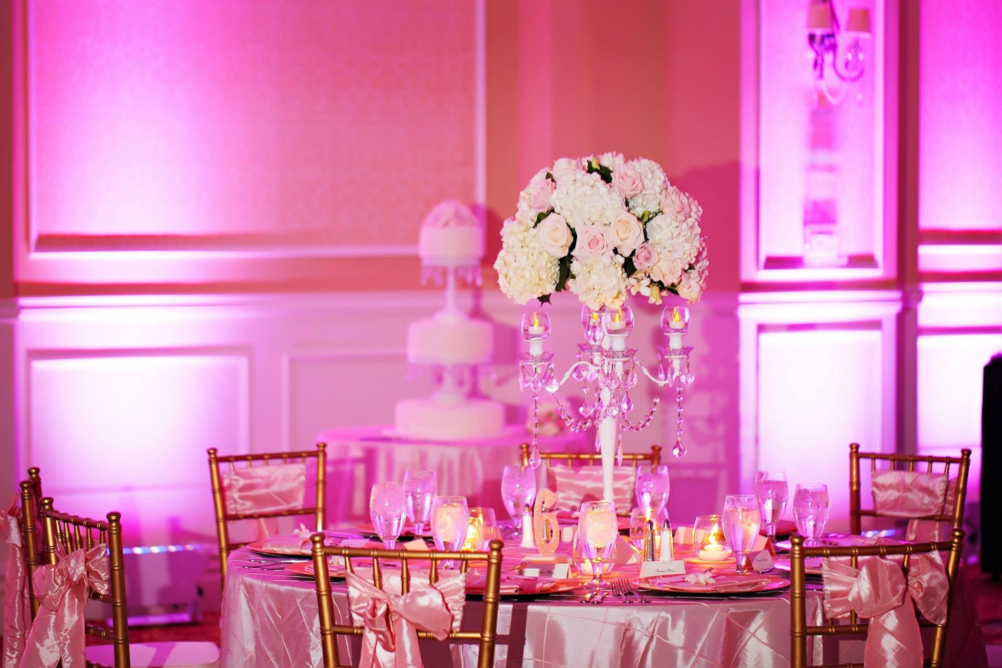 Pink wedding reception at Embassy