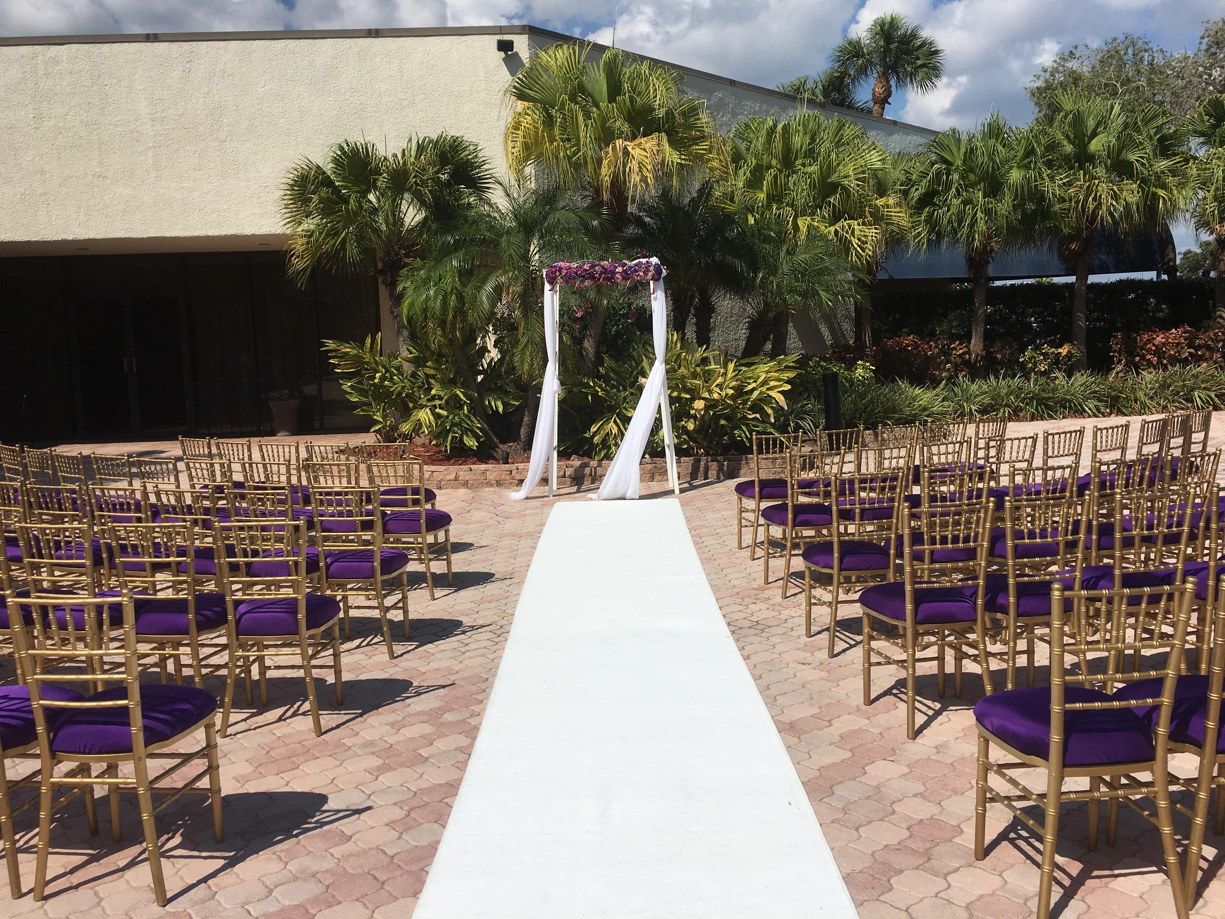 Cemonies set at Marriott up Purple ceremony