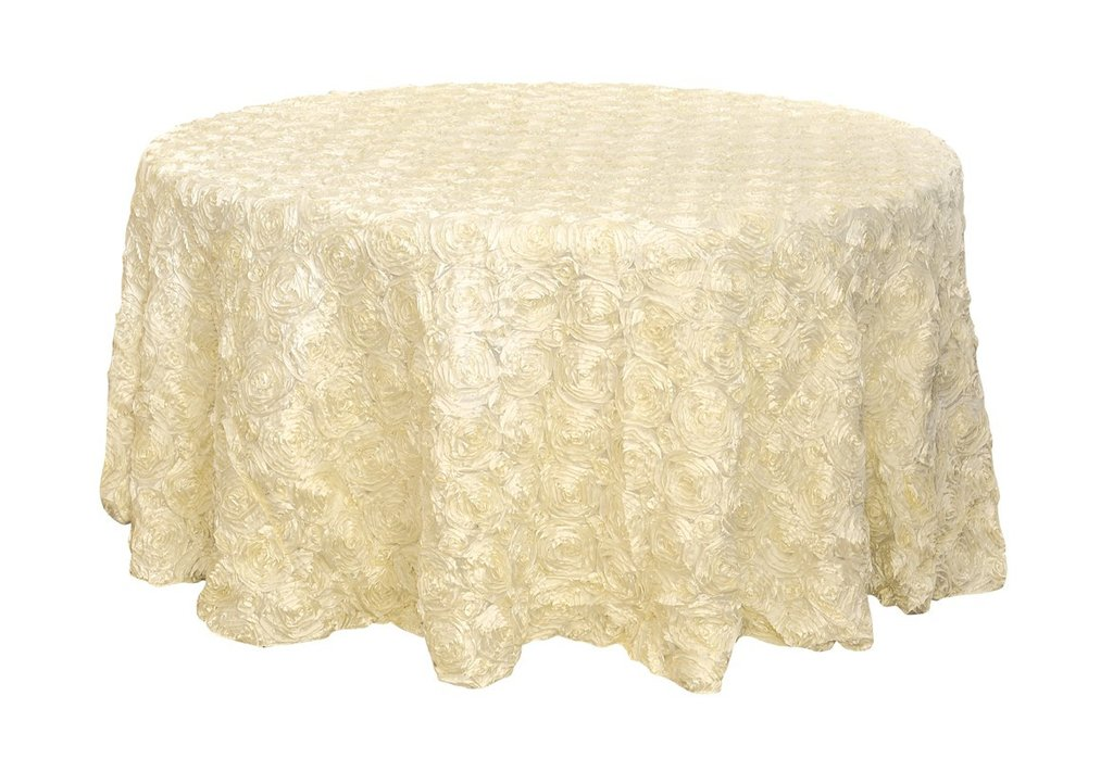 Rosette satin tablecloths rentals -ivory