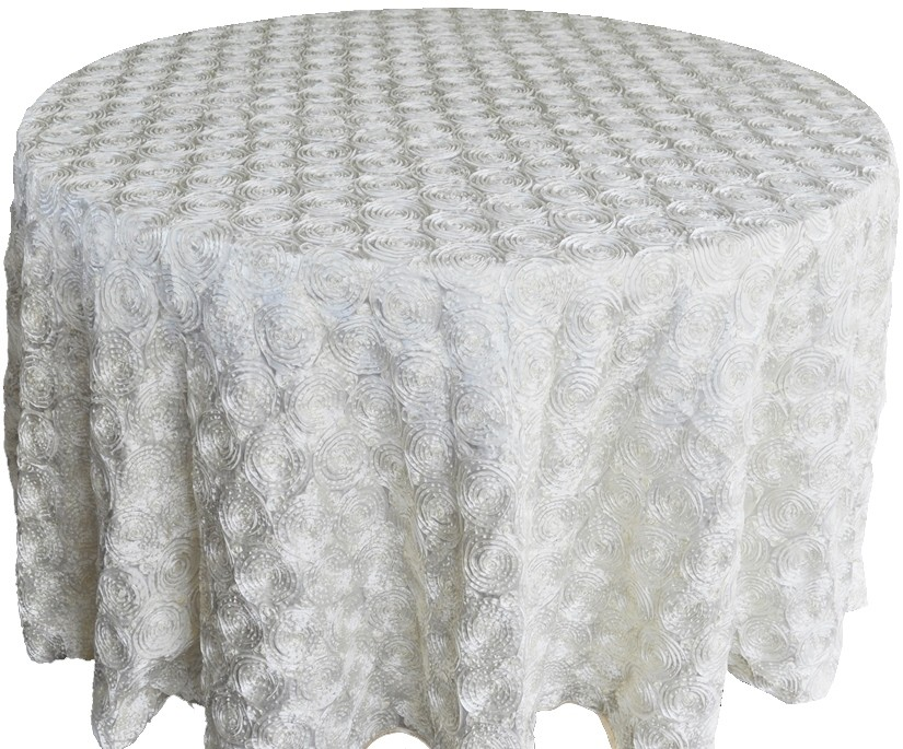 Rosette satin tablecloths rentals - White