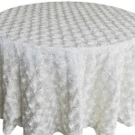 Rosette satin tablecloths rentals - White