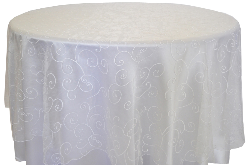 Embroidered Organza Tablecloth rentals white
