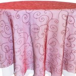 Embroidered Organza Tablecloth rentals red