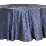 Pintuck tablecloths rentals-Navy Blue