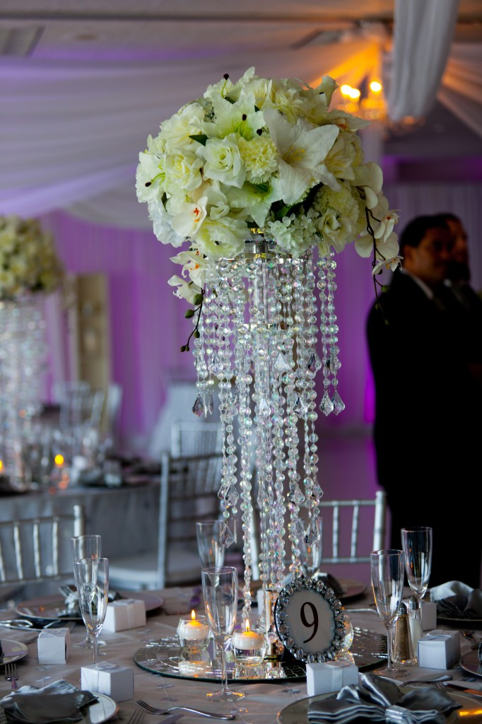 white silk -crystals chandelier centerpices