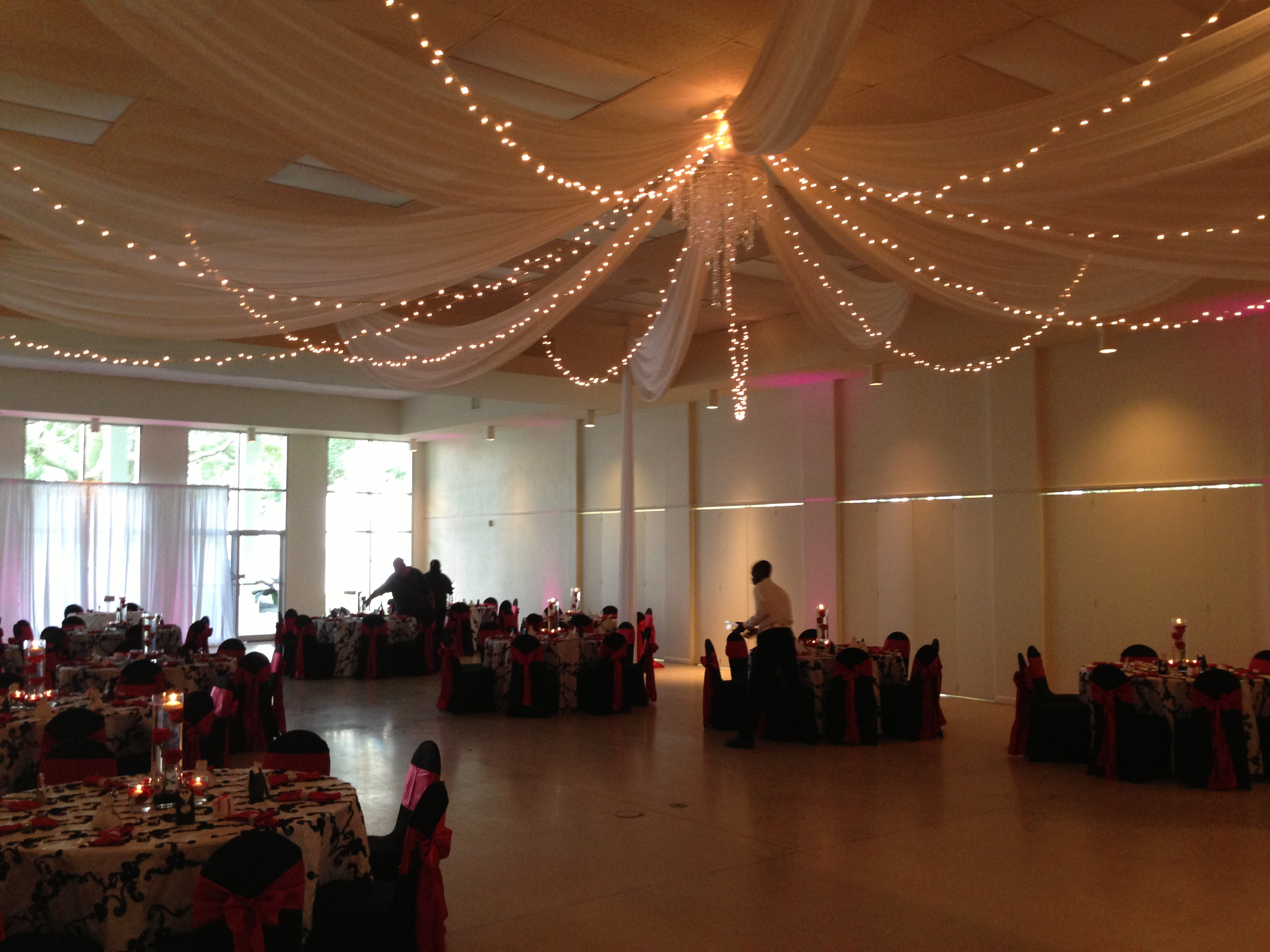 ceiling drape with twinkle lights