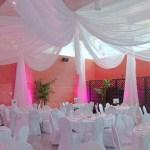 white ceiling drape