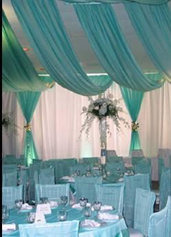Aqua ceiling drape quince