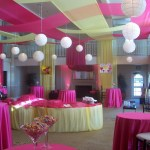 yellow and pink ceiling drape