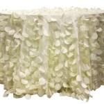 Ivory Champagne Petal Circle Taffeta tablecloths Rentals