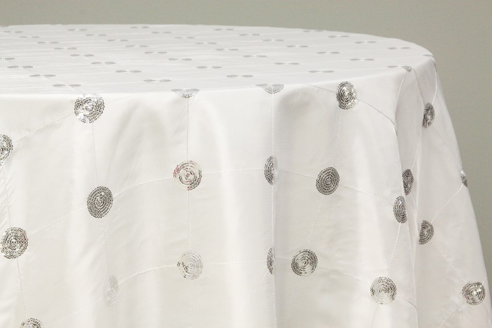 Sequin embroidery taffeta tablecloth rentals - WHITE