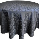 Versailles Jacquard Damask Tablecloth Rentals-black