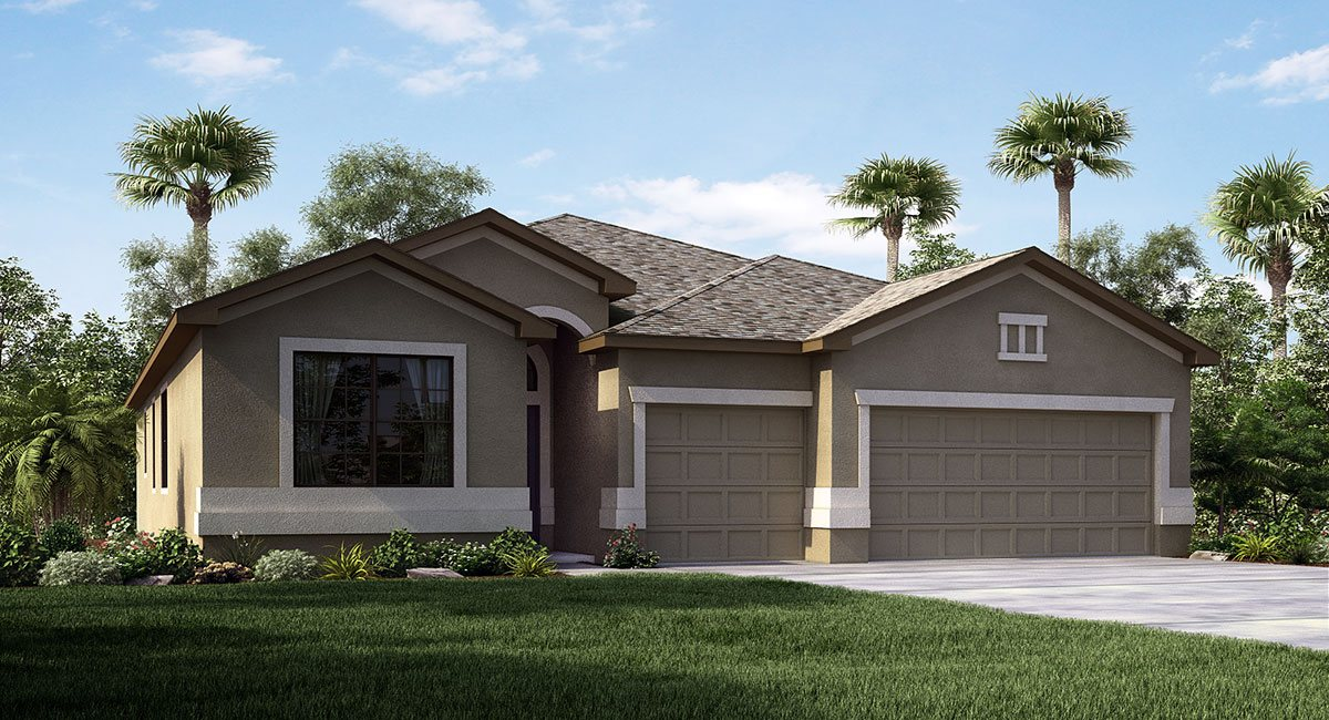 South Fork The Kennedy II 2,277 sq. ft. 4 Bedrooms 3 Bathrooms 3 Car Garage 1 Story Riverview Florida 33579