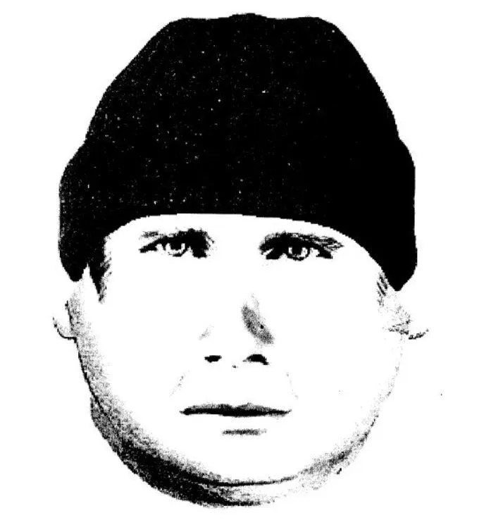 """A witness observed the suspect standing over the victim while holding a knife.  Based on information from the witness, a composite sketch of the suspect was prepared.  The witness described the suspect as a white male, early 20's, 5'08"""" to 5'10"""", heavy build, big buttocks and wearing a black beanie cap."""