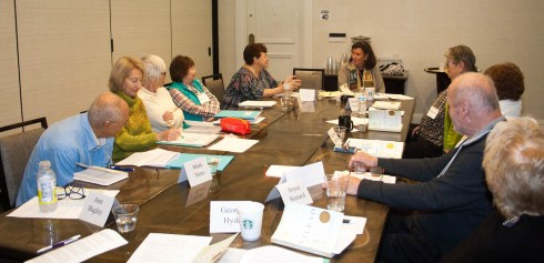 "Sunday morning marked the first appearance of a new TBGBC moderator, Judith Huge (shown here at the head of the table). Judy, an accomplished teacher of writing, is a regular attendee at TBGBC's ""Great Books"" classes held in conjunction with the Osher Lifelong Learning Institute at USF. Shown in discussion in her group this morning (clockwise from lower left): Marc Simo, Joyce Carpenter, Brenda Tipps, Diane White, Cheryl Walker, moderator Judy Huge, Amanda Putnam, Margaret Hoffman, Ladi Volicer, and Joyce Simard."