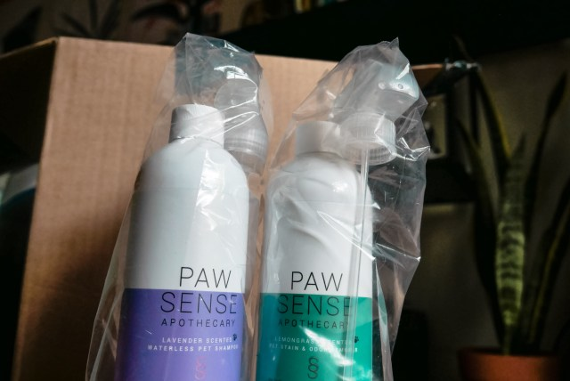 Paw Sense Apothecary waterless pet shampoo & pet stain and odor remover purchased through Grove Collaborative.