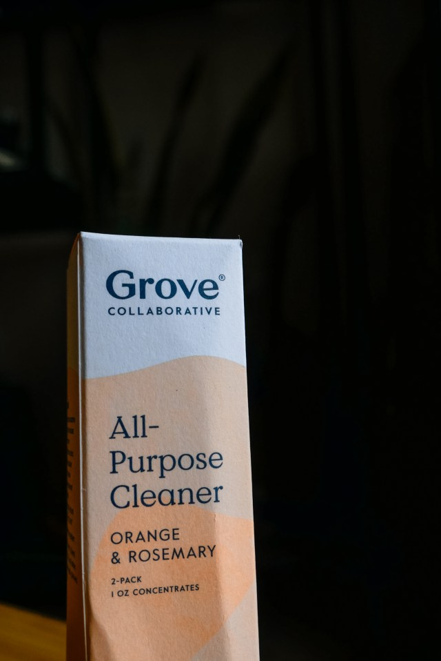 Super concentrated all-purpose cleaner by Grove Collaborative in the scent orange & rosemary.