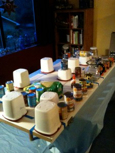 Pressing the balsa down with most of the house's canned goods.